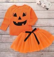 Halloween Set Two-piece Summer Girl Set Orange Round Neck Pullover Top Printed Long Sleeve