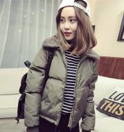 Women Outerwear Autumn Winter Coat Korean Style Lambs Collar Down Cotton-Padded Jackets Short Casual Female Warm Parkas