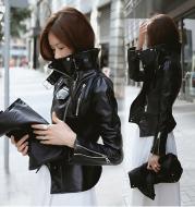 Leather women's jacket autumn 2021 new Korean students Slim thin motorcycle leather jacket high waist