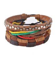 Leather Bracelet Men Multilayer Bead Bracelet Punk Wrap Bracelets for Women Vintage punk Men Jewelry