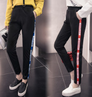 Casual sports pants female thin section students Korean version of loose pants