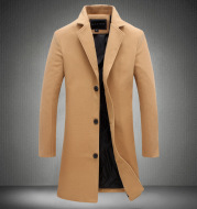 2021 Autumn and Winter New Mens Solid Color Casual Business Woolen Coats / Mens High-end Brand Slim Long Woolen Coat Male Jacket