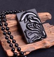 Natural Obsidian Fox Pendant