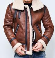 Men's Jacket Winter Highneck Warm Fur Liner Lapel Leather Zipper