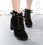 Retro Martin boots large size boots high heel thick with matte leather round head with bare boots