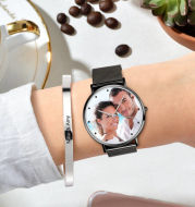 Engraved Women's Black Alloy Bracelet Photo Watch 36mm