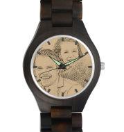 Men's Engraved Wooden Photo Watch Wooden Strap 45mm