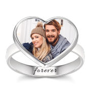Women's Heart Photo Ring With Engraving Silver