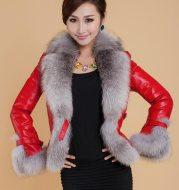 Best-selling Autumn / winter Jacket woman fur coat fashion imitation fox fur collar women coat slim short PU leather coat