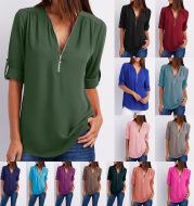 Large Size  Long Sleeve Loose V-neck Shirt