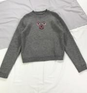 Cartoon bear smiley face avatar half-high collar gray pullover bottoming sweater