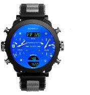 Men's watch electronic quartz double display watch 3 time zone waterproof watch