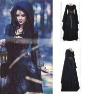 Halloween Long Sleeve Round Collar Belt Irregular Ladies Dress Halloween Witch Costume