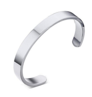 Custom Laser Engraving Smooth Stainless Steel Fine Bangle Jewelry C-shaped Bracelet
