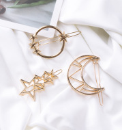 Europe and America simple hollow five-pointed star moon geometry hairpin metal frog clip side clip