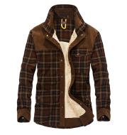 Men's plus velvet long-sleeved plaid shirt cotton warm casual cotton shirt
