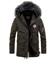 Winter new warm casual men's cotton coat thick long hair fur collar coat