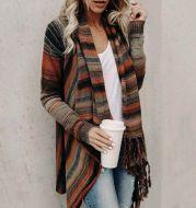 Mid-length slim fashion tassel striped jacket sweater