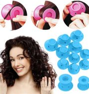 10pcs / set Soft Rubber Magic Hair Care Rollers Silicone Hair Curlers No Heat Hair Styling Tool Blue