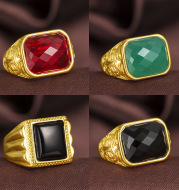 Plated 24K gold accessories Exaggerated local gold agate ring Live mouth men's ring