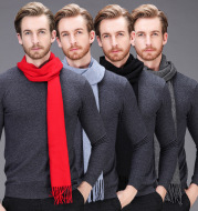 High-end brand 2021 winter cashmere scarf Men and women with pure wool warm retro thickened long collar