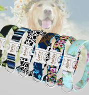 Pet dog brand name collar collar custom large dog collar lettering tag Golden Retriever dog identity card supplies