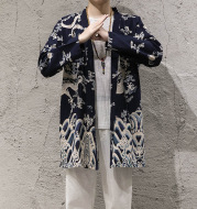 New autumn windbreaker men's long section Korean version of the buckleless cloak jacket male Chinese style cotton and linen