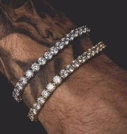 Hip Hop Bracelet Iced Out Single Row Rhinestones Chain Bling Tennis Charm Bracelets Zirconia Bracelets Link Chain Jewelry