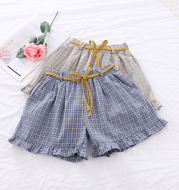 2021 summer new girls tie baby pants baby casual plaid shorts Korean version of the plaid pants tide a generation