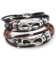 PH18 direct sales Europe and the United States neutral non-mainstream leather retro men's leather bracelet bracelet 8 word unlimited symbol