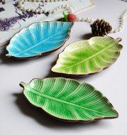 Creative Banana Leaf Shape Ceramic Plate Lovely Seasoning Dish