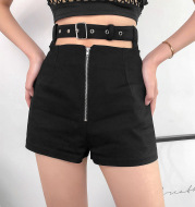 Openwork waistband zipper shorts women's high waist straight casual shorts