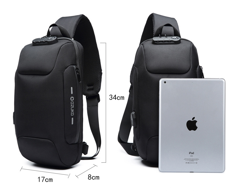 Multifunctional Shoulder Bag Anti-Theft Waterproof Chest Bag USB allinonehere.com