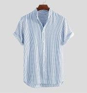 Striped short stand collar shirt