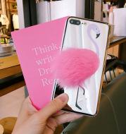 Pink three-dimensional plush flamingo phone case