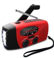 Solar hand crank radio flashlight