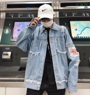 Hole denim jacket flow wear broken denim clothing male