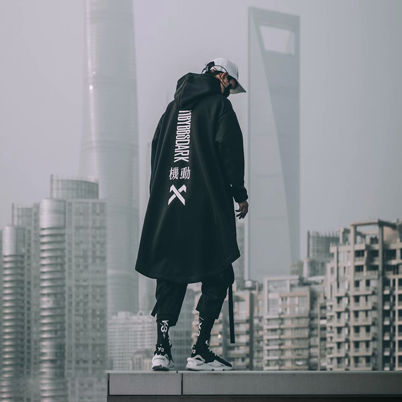 Cyberpunk Techwear Japanese Streetwear Long Hoodie