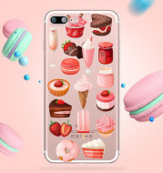 Customized Transparent Ice Cream Pattern Silicone Cover  Soft Phone Case for Iphone
