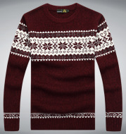 Men's long sleeve round collar pullover