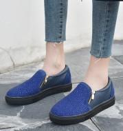 Double zipper rhinestone snake board shoes