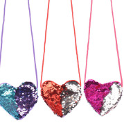 Sequined lanyard bag love children's coin purs