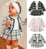 Long-sleeved Dresses Two-piece Children's Baby Small Incense Wind Suit
