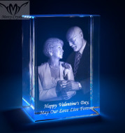 2D Laser Personalized Square Crystal Photo Frame With Love Custom Picture Glass Cube