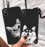 Soft cartoon cat dog fish pattern mobile phone case