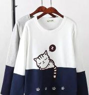 Color-block cartoon cat animal embroidered sweater