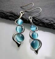 Fashion Beaded Earrings Resin Stone Blue Moonstone Dangle Long Jewelry Charm Silver Color Twist Hook Earring For Women