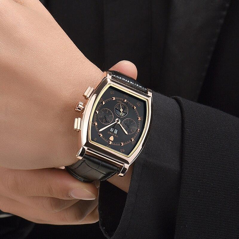 Montre mécanique bracelet cuir