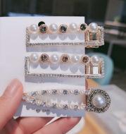 Pearl bangs with diamonds