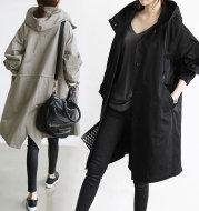 Korean loose solid color British trench coat
